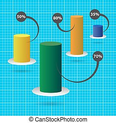 color column chart with text and background grid