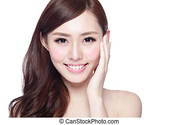 Beauty woman with charming smile to you with health skin,...