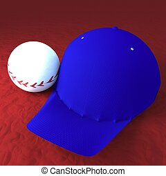 Baseball and baseball hat over red field, 3d rendering