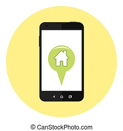 Mobile Home Location Marker - Mobile Phone With Home...