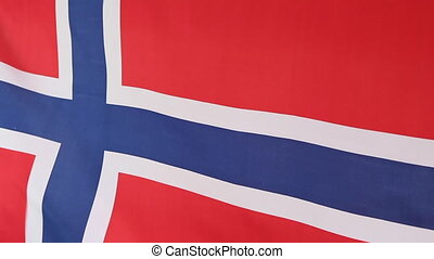 Closeup of Norwegian national flag - Closeup of a fabric...