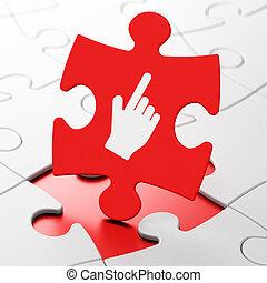 Web design concept: Mouse Cursor on puzzle background