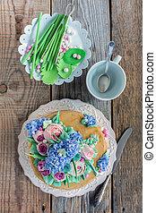 plato, con, pastel, y, decorativo, elementos, De, azúcar,...