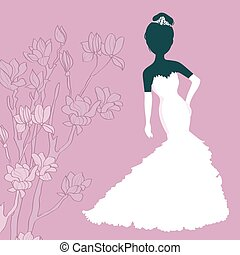 Silhouette Girl In Wedding Dress