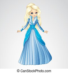 Beautiful Blonde Snow Queen - Vector illustration of fashion...