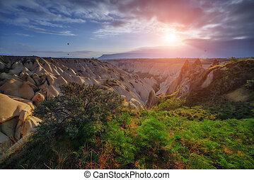 Cappadocia - Amazing sunrise in Cappadocia, Turkey