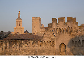 City Walls, Cathedral and Palais des Papes Palace; Avignon,...