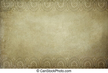 Old paper background with decorative border.