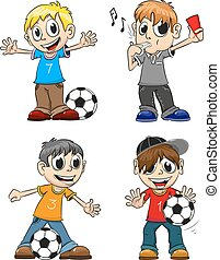 Soccer players and referee - Boys playing with the ball and...