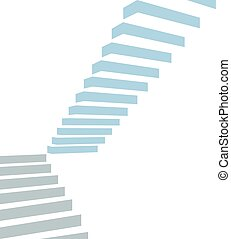 Stair on white background - stair as a symbol of height is...