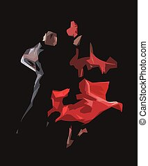 tango - The stylized image of dancers who perform tango
