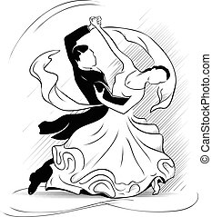 Waltz - Classic motion of waltz on a white background