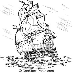 Wind-driven ship on a white background - The wind-driven...