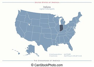 indiana - United States of America isolated map and Indiana...