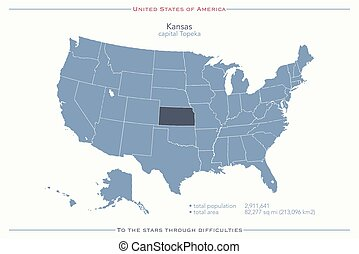 kansas - United States of America isolated map and Kansas...