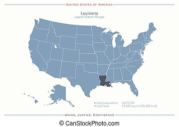 louisiana - United States of America isolated map and...
