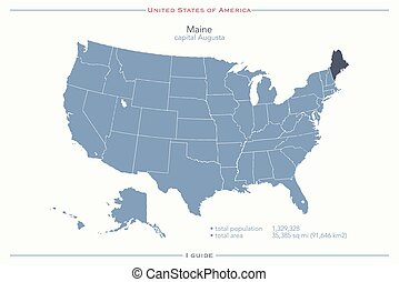 maine - United States of America isolated map and Maine...