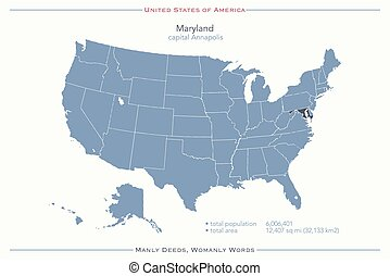 maryland - United States of America isolated map and...