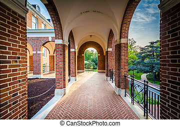 Arched corridor at Johns Hopkins University, in Baltimore,...