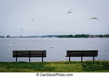 Benches on the waterfront in Canton, Baltimore, Maryland.