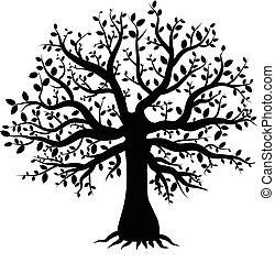 silhouette of a tree decor with leaves - abstract vector...