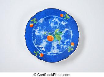 blue ceramic plate with strawberry design - blue strawberry...