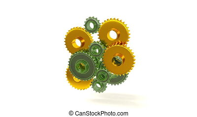 Connecting Gears, 3d render