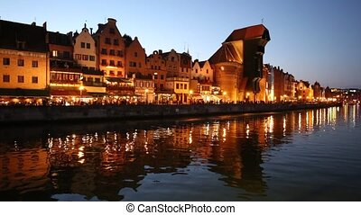 Beautiful Gdansk Cityscape, Krantor, Motlawa River, Old...