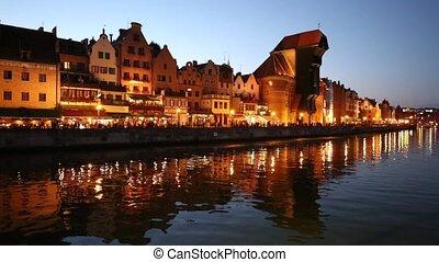 Beautiful Gdansk Cityscape, Krantor, Motlawa River, Old...