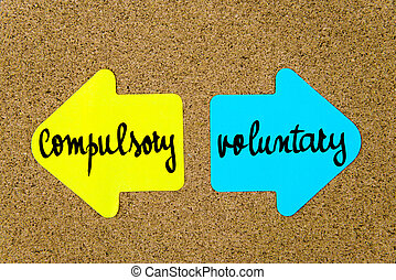 Message Compulsory versus Voluntary on yellow and blue paper...