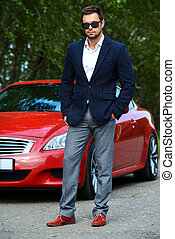 guy with his sports car - Handsome young man in his new...