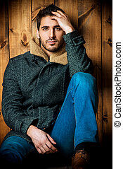 male fashion - Vogue shot of a handsome male model in jeans...