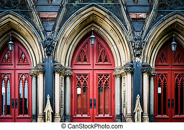 The red doors of Mount Vernon Place United Methodist Church,...