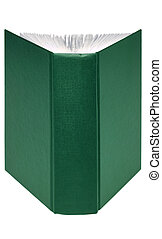 Open green book - An open green hardback book isolated on...