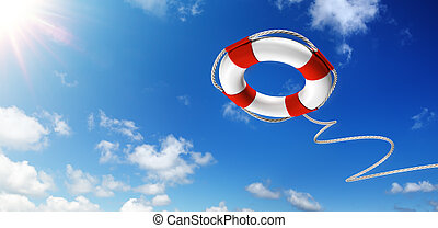 Throwing A Life Preserver In The Sky - Help Concept