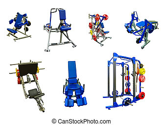 Gym exercise machines - Set of gym exercise machines for...