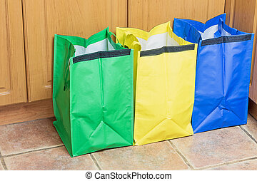Bags for Sorting Household Waste - Green, blue and yellow...
