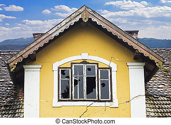 Vandalized old house - Abandoned old house with vandalized...
