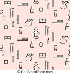 Makeup objects and products seamless pattern.
