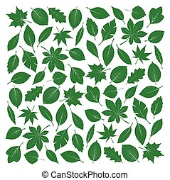 Composition of Green Leafs Vector Illustration