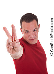 man with arm raised in victory sign, isolated on white background. Studio shot