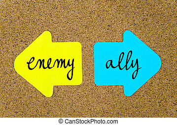 Message Enemy versus Ally on yellow and blue paper notes as...