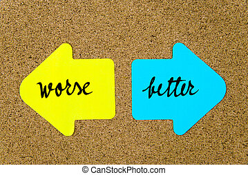 Message Worse versus Better on yellow and blue paper notes...