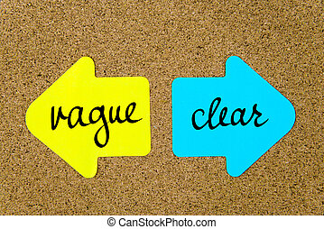 Message Vague versus Clear on yellow and blue paper notes as...