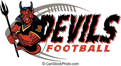 devils football mascot team design for school, college or...