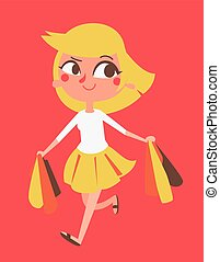 Cartoon Girl Shopping - Vector illustration of a happy...