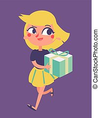 Cartoon Girl Running with Present - Vector illustration of a...