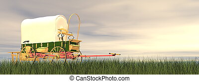 Chuckwagon by sunset - 3D render - Chuckwagon on the grass...