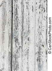 Weathered white wooden background with paint chipped and peeling.