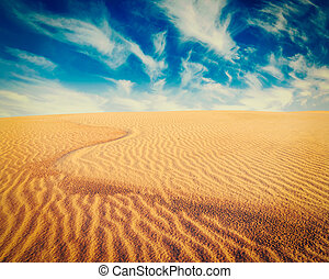 White sand dunes on sunrise, Mui Ne, Vietnam - Vintage retro...